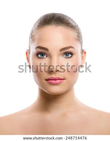 beautiful young woman on a white background, beauty concept, tan before and after, face divided in two parts, tanned and natural - stock photo