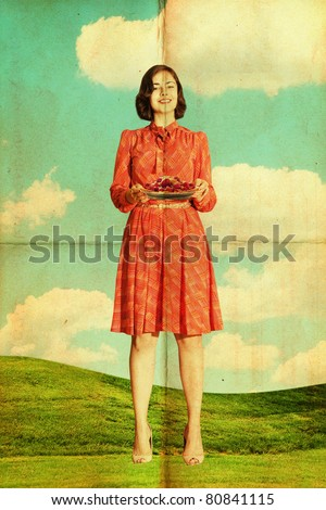 beautiful young woman on meadow with pie, art collage