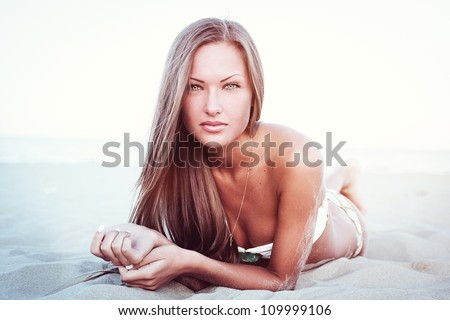 beautiful young woman on the beach , high quality - stock photo
