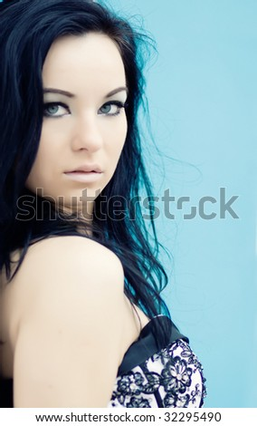 Beautiful young woman outdoor portrait - stock photo