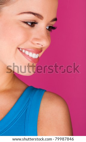 Beautiful young woman. perfect teeth smiling