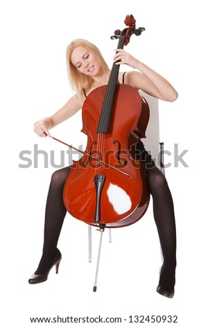 Young Cellist Standing Astride On White Stock Photo ...