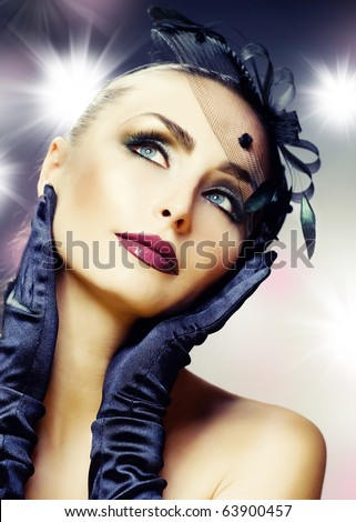 Beautiful Young Woman portrait.Modern makeup - stock photo