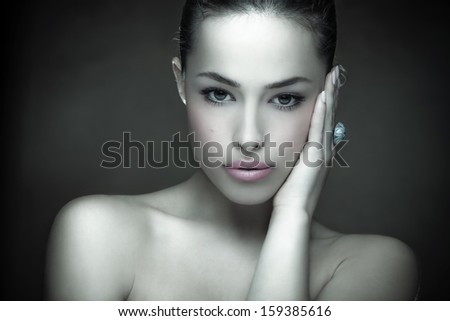 beautiful young woman portrait, studio