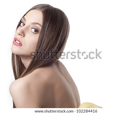 Beautiful young woman portrait with long dark hair over white - stock photo