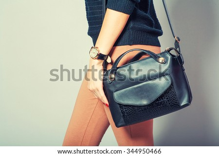 beautiful young woman posing with handbag and copy space. Toned image. - stock photo