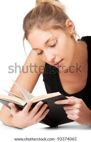 beautiful young woman reading book isolated on white background