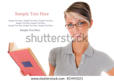Beautiful Young Woman Reading with Text Space to the left - stock photo