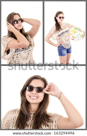 Beautiful young woman relaxing on beach clothes - stock photo