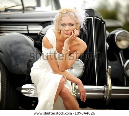 Beautiful young woman retro style. - stock photo