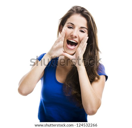 Beautiful young woman shouting, isolated over a white background - stock photo