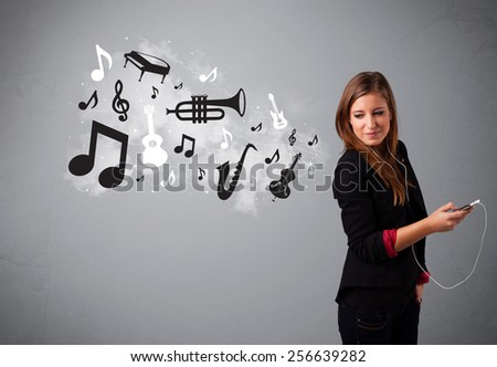 Beautiful young woman singing and listening to music with musical notes and instruments getting out of her mouth - stock photo
