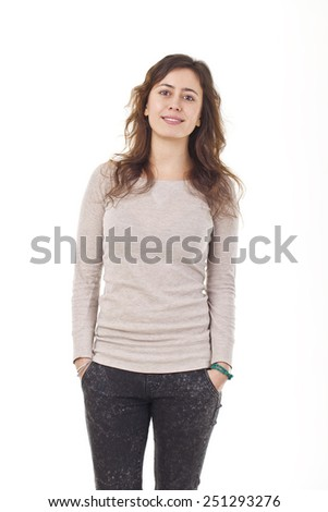 Beautiful Young Woman Smiling Portrait. - stock photo