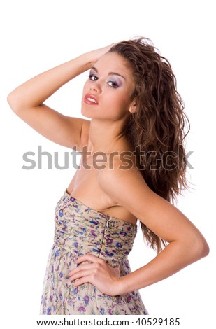 beautiful young woman standing wearing dress isolated on white