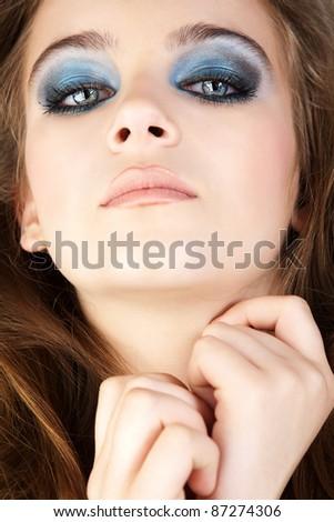 Beautiful young woman studio shot portrait. - stock photo