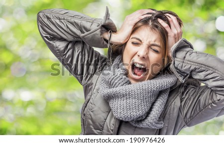 beautiful young woman suffering from headache - stock photo