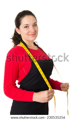 beautiful young woman tailor seamstress designer stylist holding measuring tape isolated on white - stock photo
