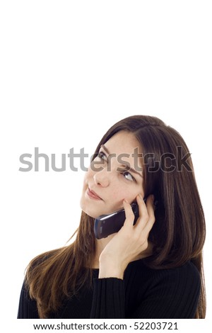 Beautiful young woman talking on the mobile phone,  she is looking up - thinking, a lot of copyspace. - stock photo