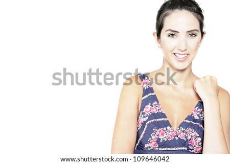 Beautiful young woman wearing a blue summer dress - stock photo