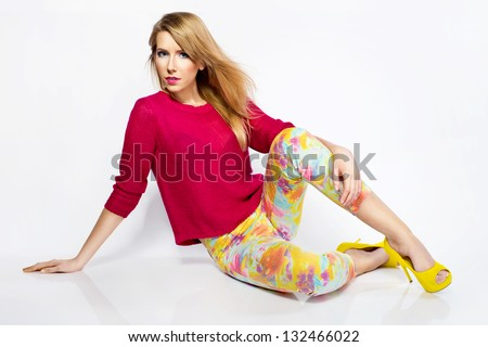 beautiful young woman wearing casual clothes stock photo