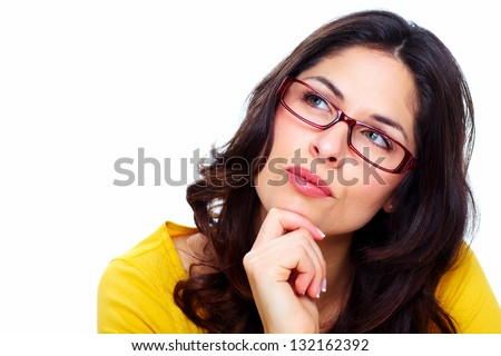 Beautiful young woman wearing glasses. Isolated on white. - stock photo