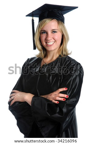 Beautiful young woman wearing graduation gown and mortarboard