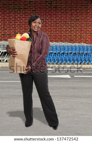 Beautiful young woman with a brown paper shopping bag - stock photo