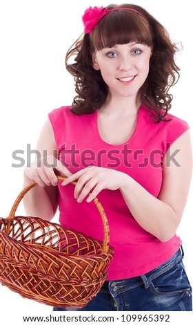 Beautiful young woman with basket on white background. - stock photo