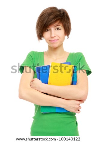 beautiful young woman with book - stock photo