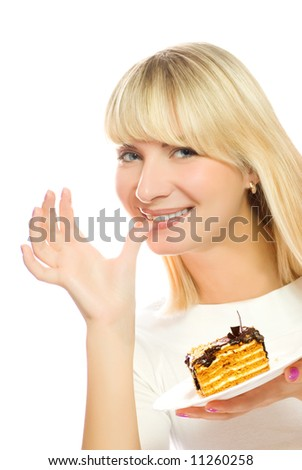Beautiful young woman with chocolate cake isolated on white background