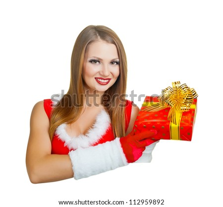 Beautiful young woman with Christmas present Beautiful young woman with Christmas present isolated on white background