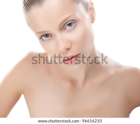 Beautiful young woman with clean skin on her fresh face. Cosmetics. Beauty. Skincare - stock photo