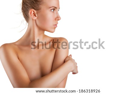 Beautiful young woman with clean skin on white background