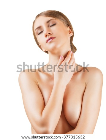 Beautiful young woman with closed eyes and clean skin on a white background
