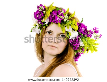 stock photo beautiful young woman with delicate flowers in their hair 140942392