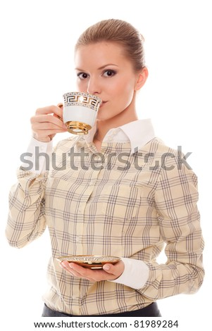 beautiful young woman with drink coffee isolated on white background - stock photo
