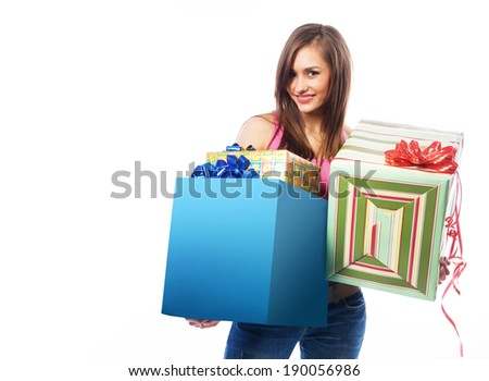 beautiful young woman with gifts on white background - stock photo