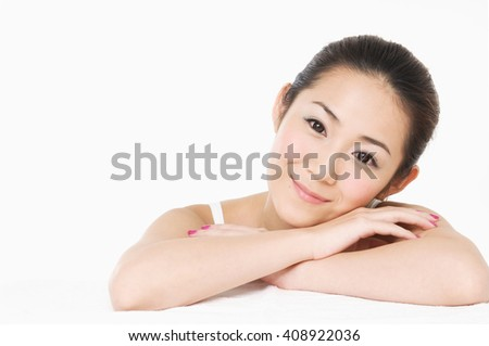 beautiful young woman with healthy clean skin on a face