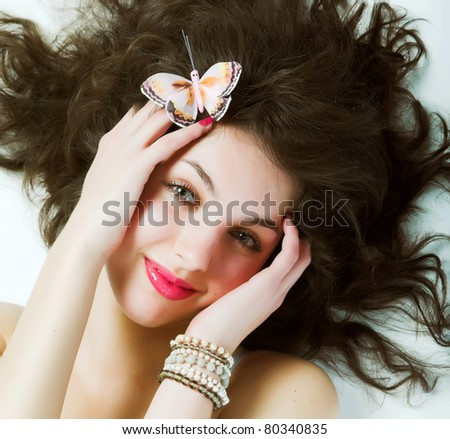 beautiful young woman with long hair - stock photo