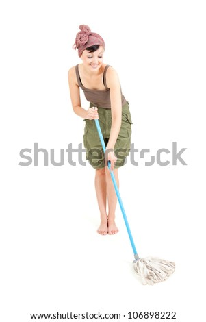 beautiful young woman with mop cleaning floor, full length, white background - stock photo