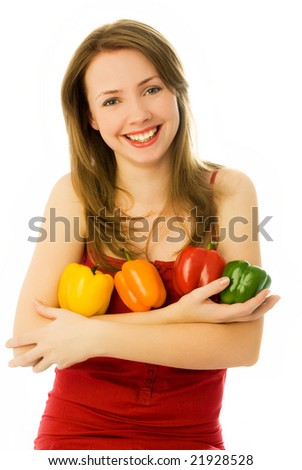beautiful young woman with peppers isolated against white background