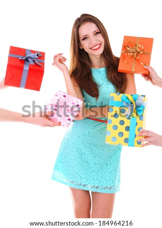 Beautiful young woman with present boxes isolated on white