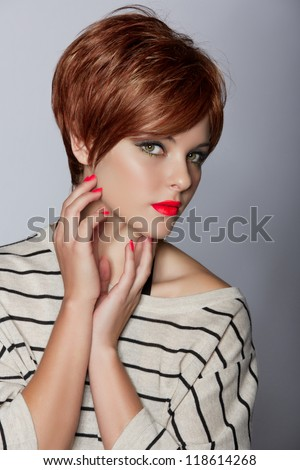 Beautiful Young Woman Red Hair Wearing Stock