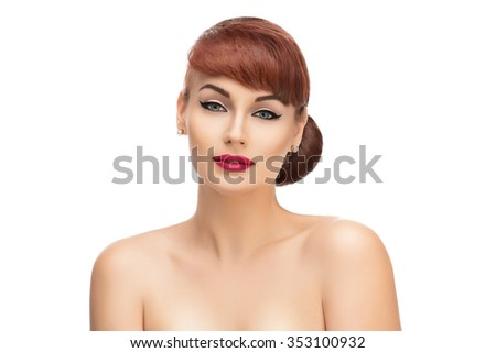 Beautiful young woman with red lips. Isolated over white background. Copy space. - stock photo