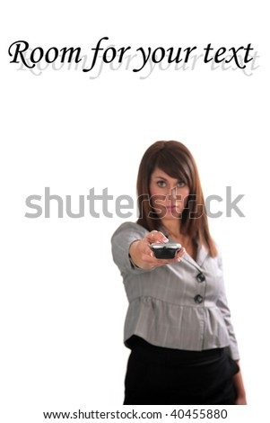 beautiful young woman with remote control, isolated on white - stock photo