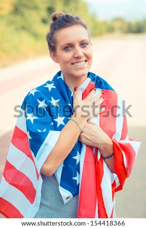 Beautiful Young Woman with USA Flag
