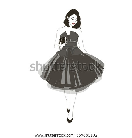 Beautiful young women in black dress, black high heel shoes.  Hand drawn fashion illustration. - stock photo
