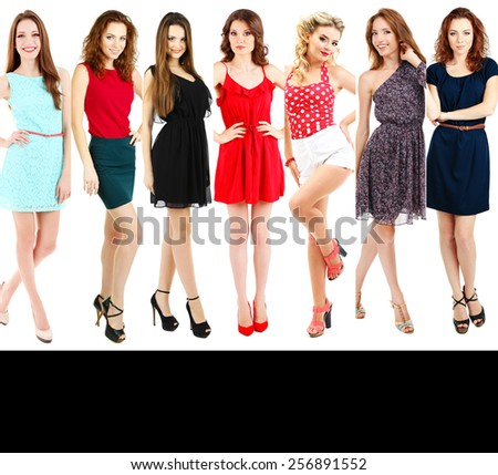 Beautiful young women in collage and space for your text - stock photo