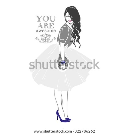 Beautiful young women in grey blouse, blue high heel shoes and white midi skirt with handbag. Hand drawn illustration. - stock photo