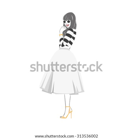 Beautiful young women in striped blouse and midi skirt in sunglasses. Vector isolated illustration. - stock photo